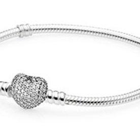 Pandora Pave Heart Bracelet, Size 19