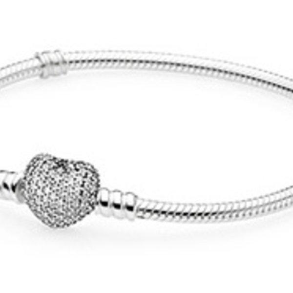 Pandora Pave Heart Bracelet, Size 21