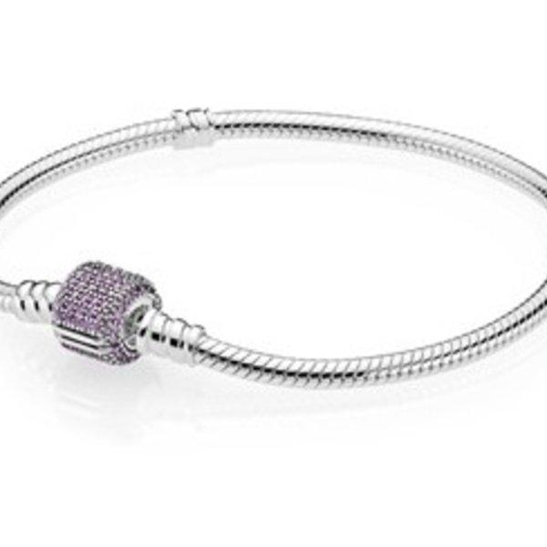 Pandora Moments Bracelet w/ Purple CZ Pave Clasp, 18 cm / 7.1 in
