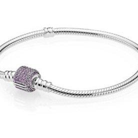 Pandora Purple Pave Moments Bracelet, Size 17