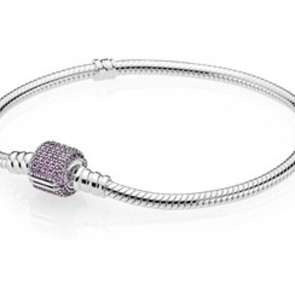 Pandora Moments Bracelet w/ Purple CZ Pave Clasp, 17 cm / 6.7 in