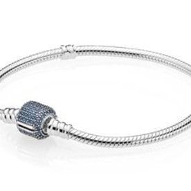 Pandora Blue Pave Moments Bracelet, Size 17