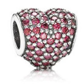 Pandora Pave Heart, Red Charm