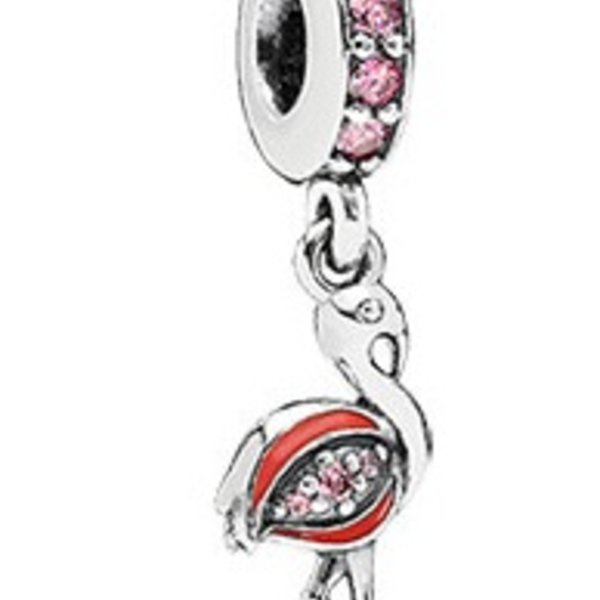 Pandora Flamingo, Fancy Pink CZ & Orange Enamel