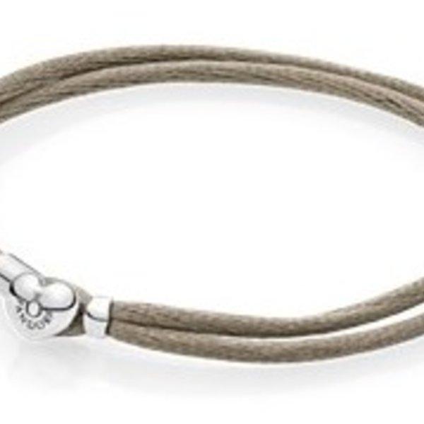 Pandora Grey Green Fabric Cord Bracelet, Size 3