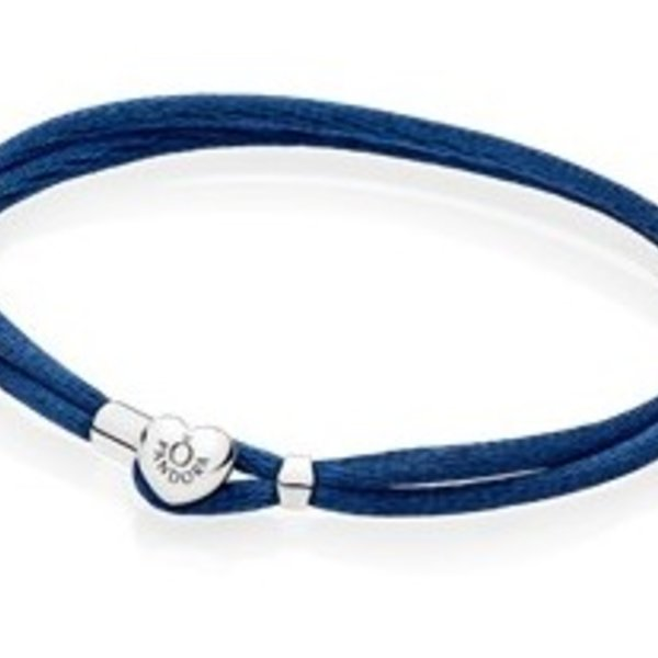 Pandora Dark Blue Fabric Cord Bracelet, Size 2