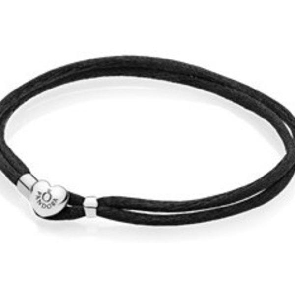 Pandora Black Fabric Cord Bracelet, Size 2