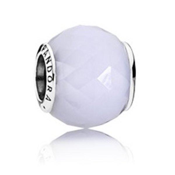 Pandora Geometric Facet, White Opal Charm
