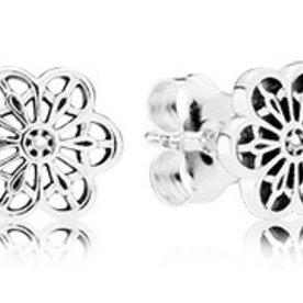 Pandora Floral Daisy Lace Stud Earrings
