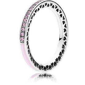 Pandora Radiant Hearts of Pandora Pink Ring, Size 7