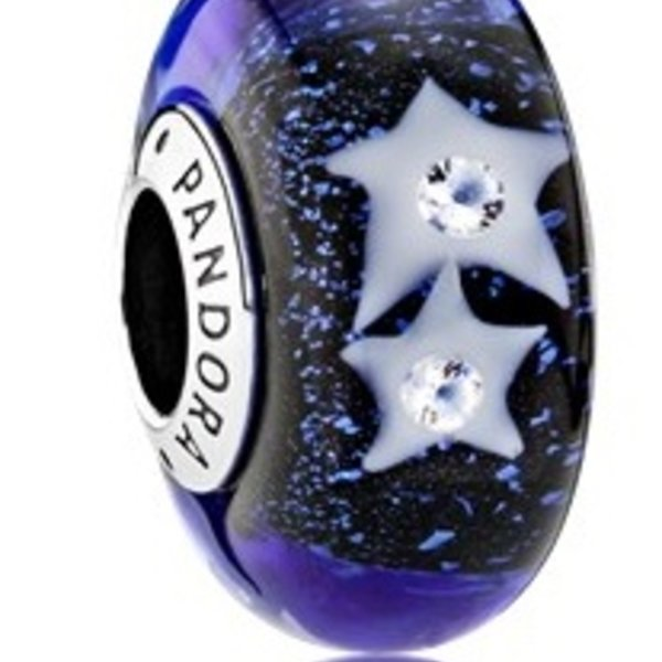 Pandora Starry Night Sky Murano Glass
