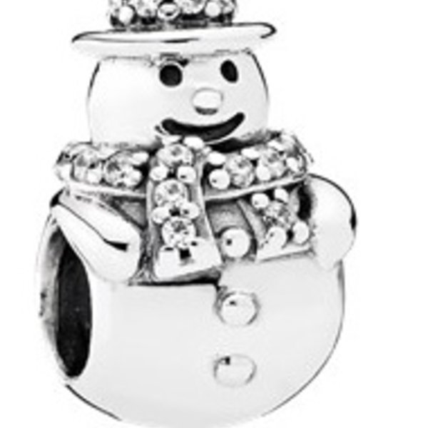 Pandora Snowman with Clear CZ Charm