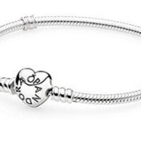 Pandora Heart Clasp Bracelet, Size 19