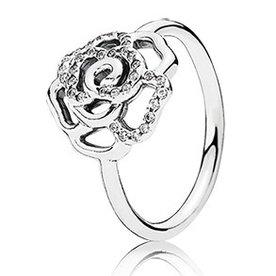 Pandora Shimmering Delicate Rose Ring, Size 9