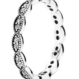 Pandora Sparkling Leaves Stackable Ring, Size 7.5