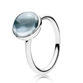 Pandora Aqua Blue Poetic Droplet Ring, Size 6