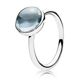 Pandora Aqua Blue Poetic Droplet Ring, Size 7.5