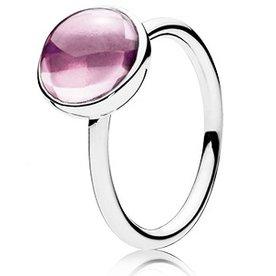 Pandora Pink Poetic Droplet Ring, Size 6