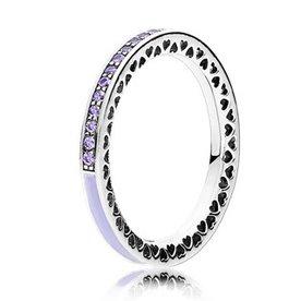 Pandora Radiant Hearts of Pandora Lavender Ring, Size 7