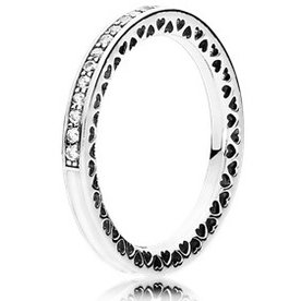 Pandora Radiant Hearts of Pandora Clear Ring, Size 8.5