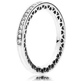 Pandora Radiant Hearts of Pandora Clear Ring, Size 9