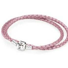 Pandora Pink Leather Bracelet, 13.8in