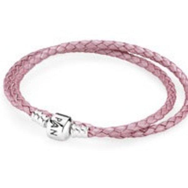 Pandora Pink Leather Bracelet, 13.8in