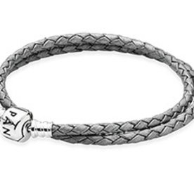 Pandora Silver Grey Leather Bracelet, 13.8in