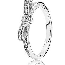 Pandora Sparkling Bow, Silver Ring, Size 4.5