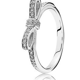 Pandora Sparkling Bow, Silver Ring, Size 5