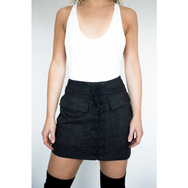 The Stevie Faux Suede Lace-Up Skirt