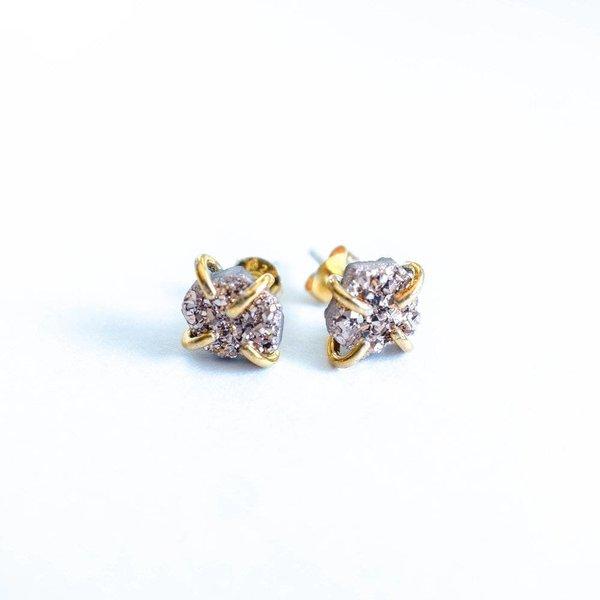 Free Form Druzy Stud Earrings