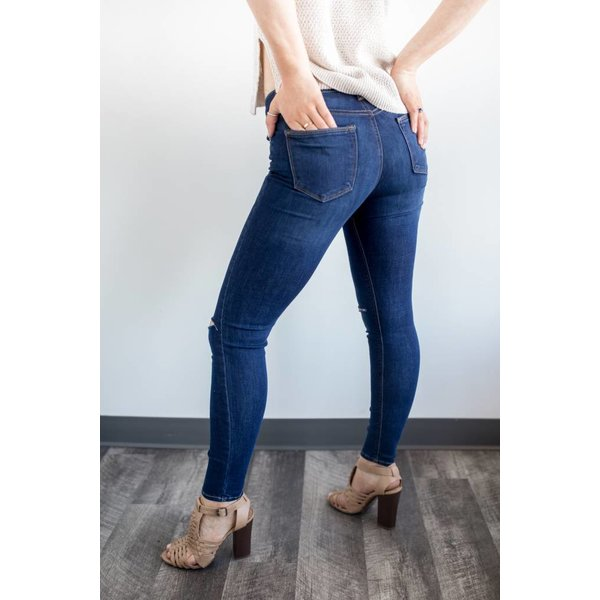 High Rise Knee Slit Skinny Jeans - Dark Denim