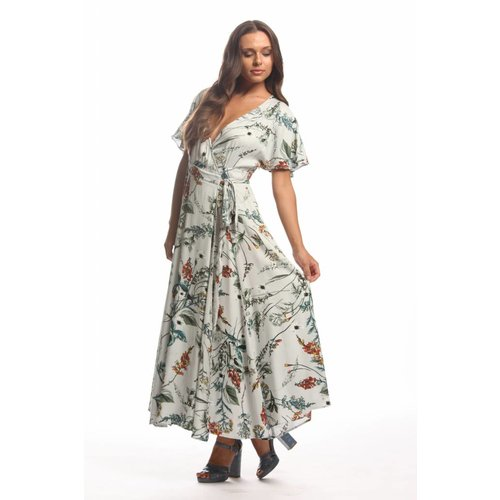 ELAN Botanical Wrap Dress
