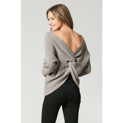 illa illa Knotted Open Back Sweater
