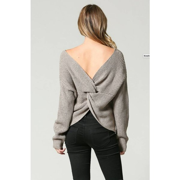 knotted open back sweater aura boutique