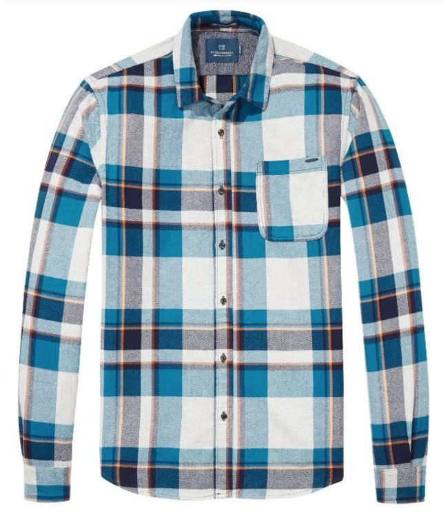SCOTCH & SODA MULTI-COLOUR CHECKED SHIRT IN BRUSHED FLANNEL