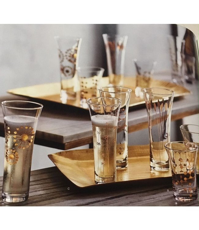 ROOST GOLD ETCHED GLASSES-CHAMPAGNE