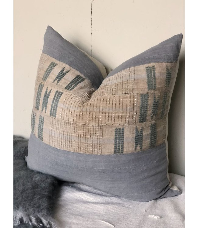 HOUSE OF CINDY EMBROIDERED PILLOW GRAY 26X26