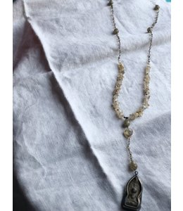 AMY KAHN RUSSELL TIBENTAN BUDDHA ON RUTILATED QUARTZ NECKLACE