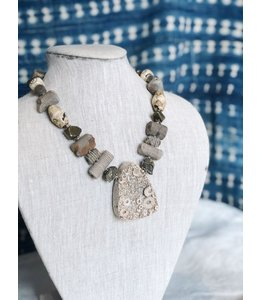 AMY KAHN RUSSELL ANICENT FOSSIL NECKLACE CHAIN MADE FROM ANICENT CRIONOID, BONE, AND PYRITE