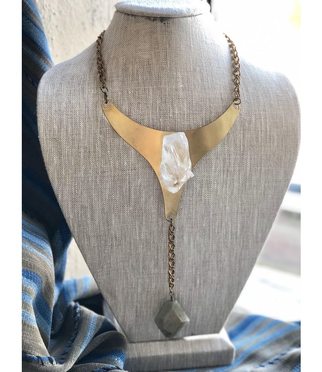 MICHELLE STERLING (C) LARGE BRASS BIB NECKLACE QUARTZ AND LABRADORITE
