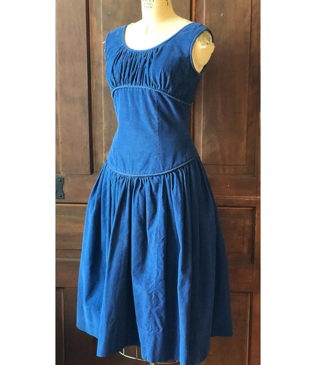 ELLAS VINTAGE BLUE CORDUROY DRESS