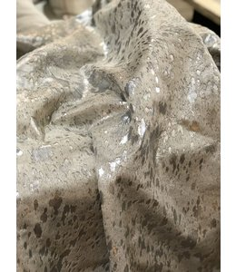 CHESTERFIELD LEATHER SILVER METALLIC COWHIDE RUG