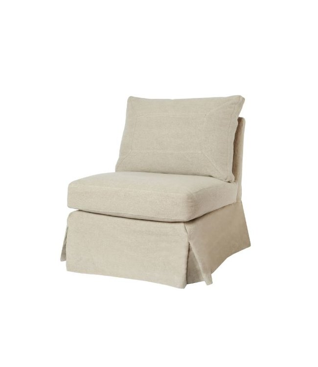 CISCO BROTHERS SEDA ARMLESS CHAIR IN  BREVARD BURLAP, FEATHER CLOUD