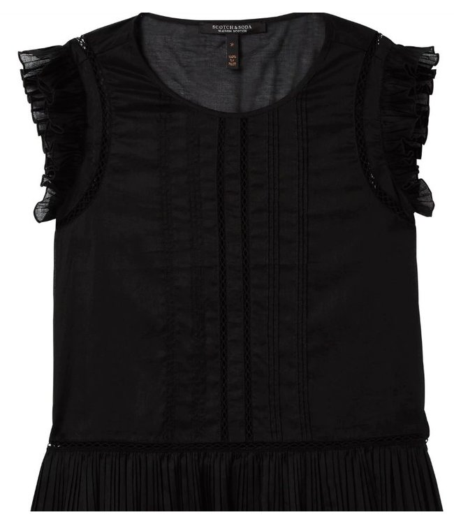 MAISON SCOTCH COTTON TOP WITH RUFFLES AND PIN TUCK DETAILS