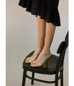 HOSS/INTROPIA Metallic Multi-Straps Leather Sandal in Gold