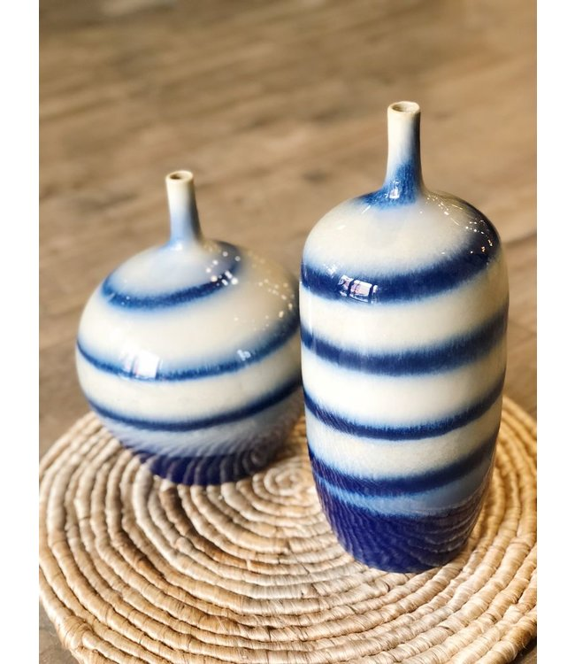Legend Of Asia Blue And White Horizontal Striped Vase Ellas