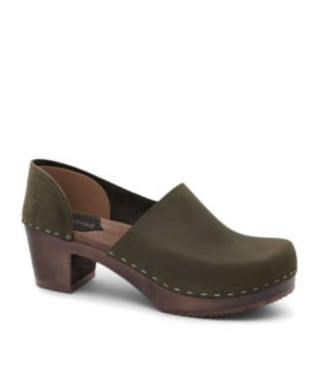 SANDGRENS WOMEN'S WOODEN CLOG WITH LEATHER