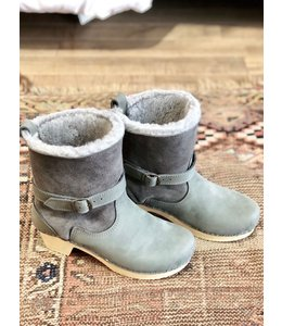 SVEN CLOGS GRAY SHERLING AND GRAY NUBUCK